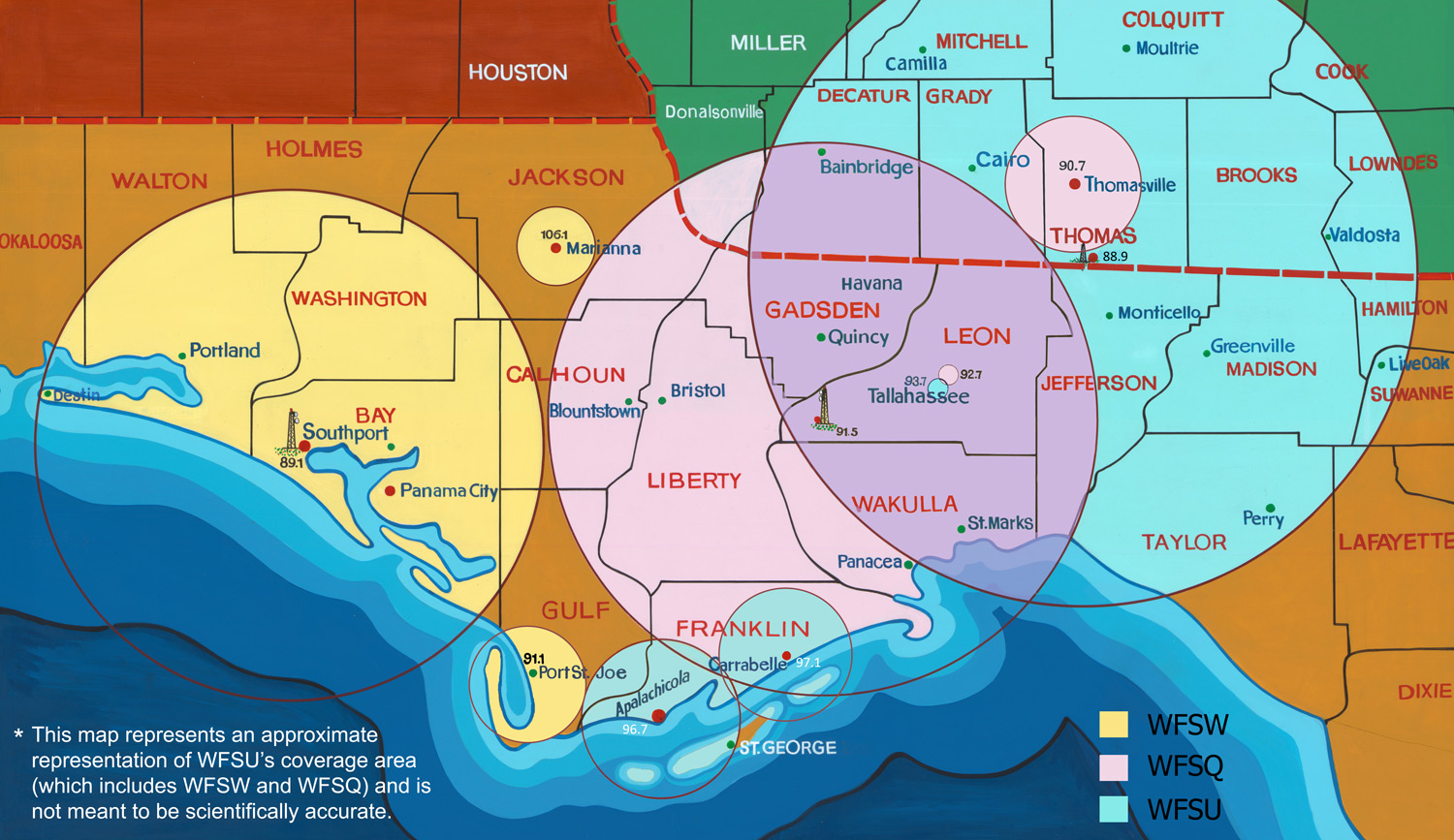 An artist's rendering of the WFSU FM coverage area showing a map of NW Florida with overlaid circles.