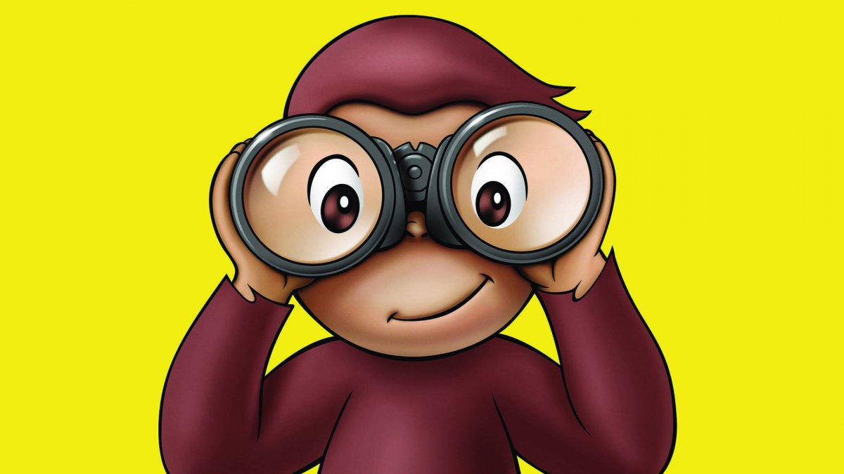 curious george in search of something with binoculars