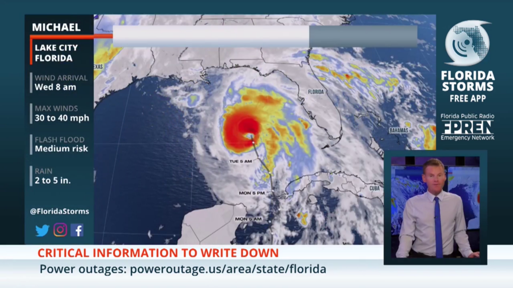 A map of hurricane with a man in lower right hand corner talkign about it.