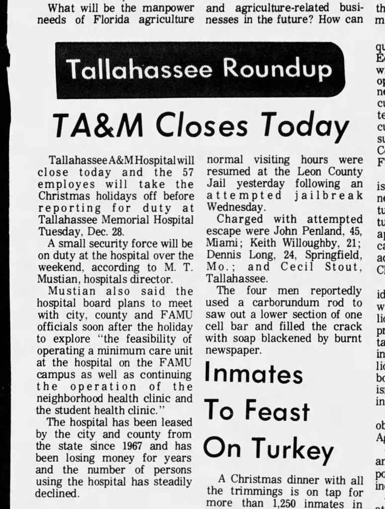 A close up of a newspaper article about T A&M Hospital closing.