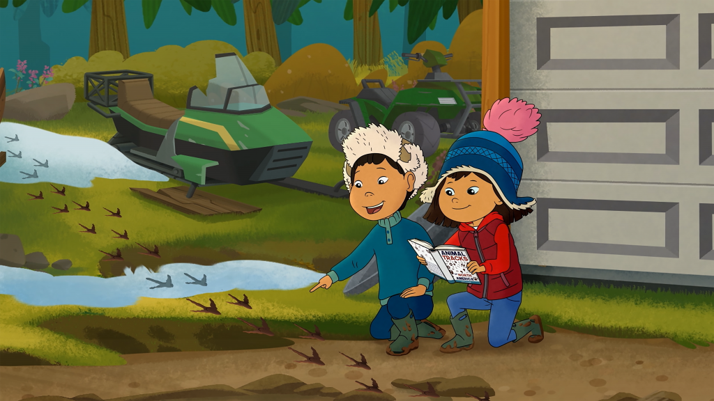 Animated girl and boy looking at animal tracks in ground