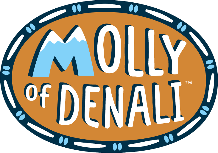 Molly of Denali logo using the sahpe Mountain for the letter M.