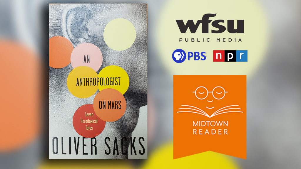 book with circles on cover and name An Anthropologist on Mars also logo for WFSU Public Media and Midtown Reader