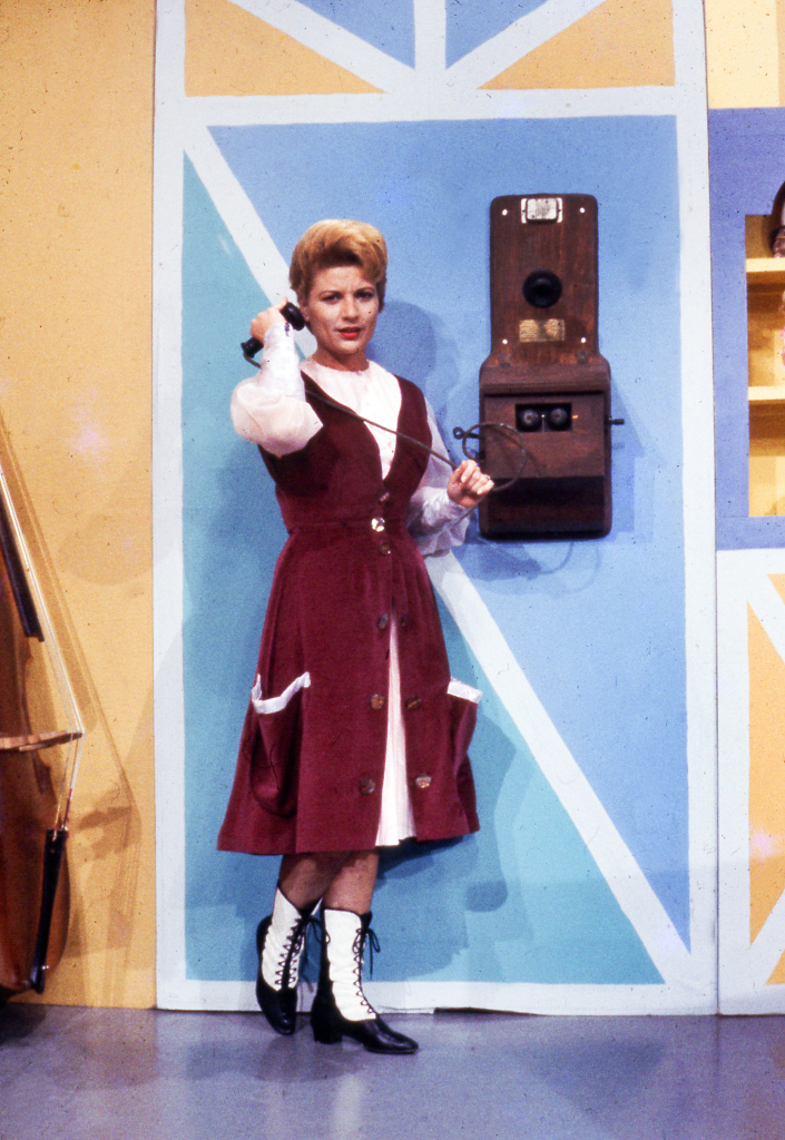 Teresa Stich-Randall talking on a cell phone