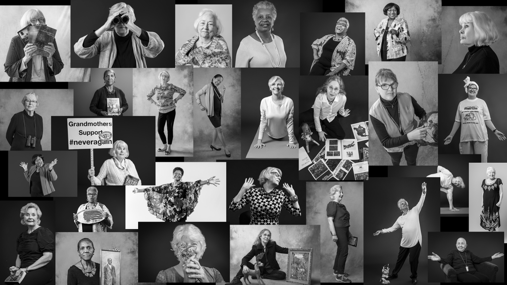 A collage of photographs of women