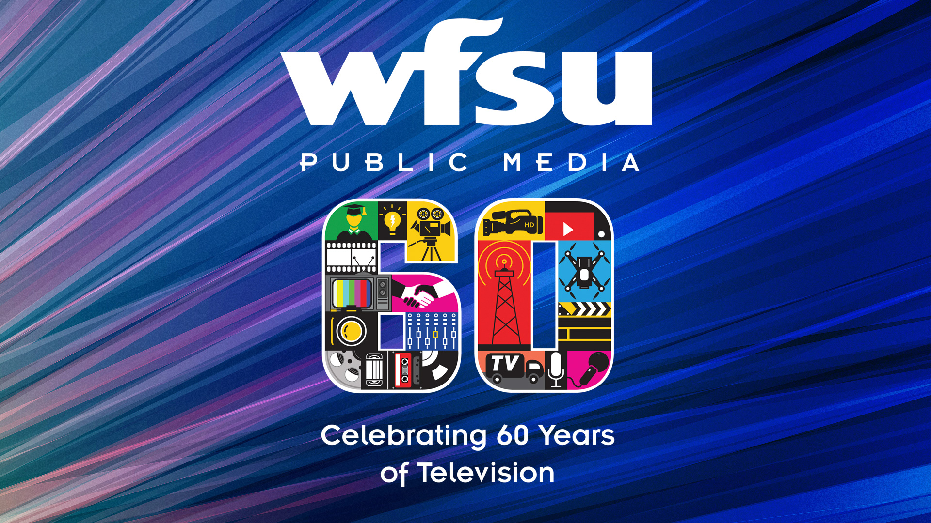WFSU 60th logo over colorful background.