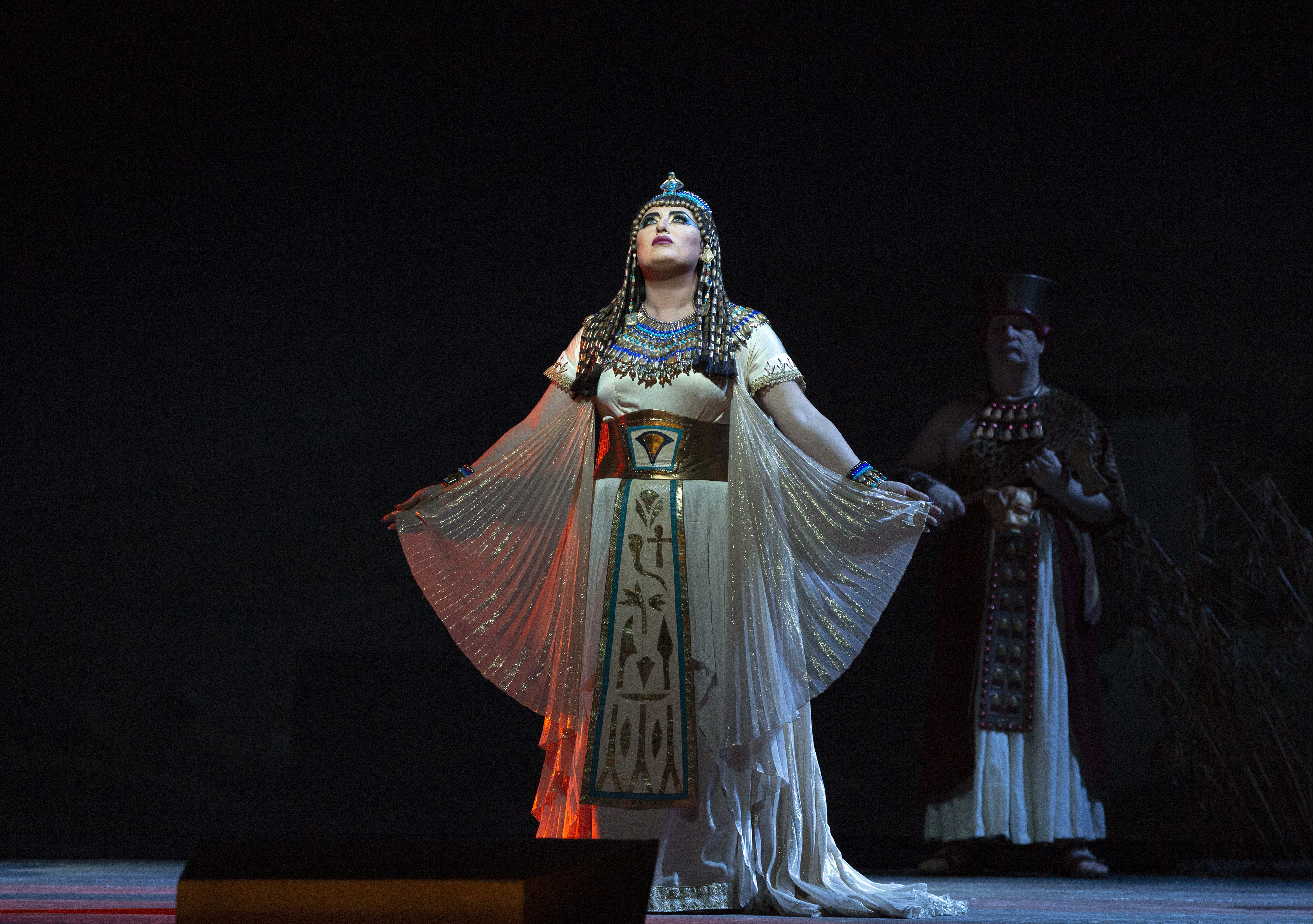Aida on stage with Egyptian-style costume