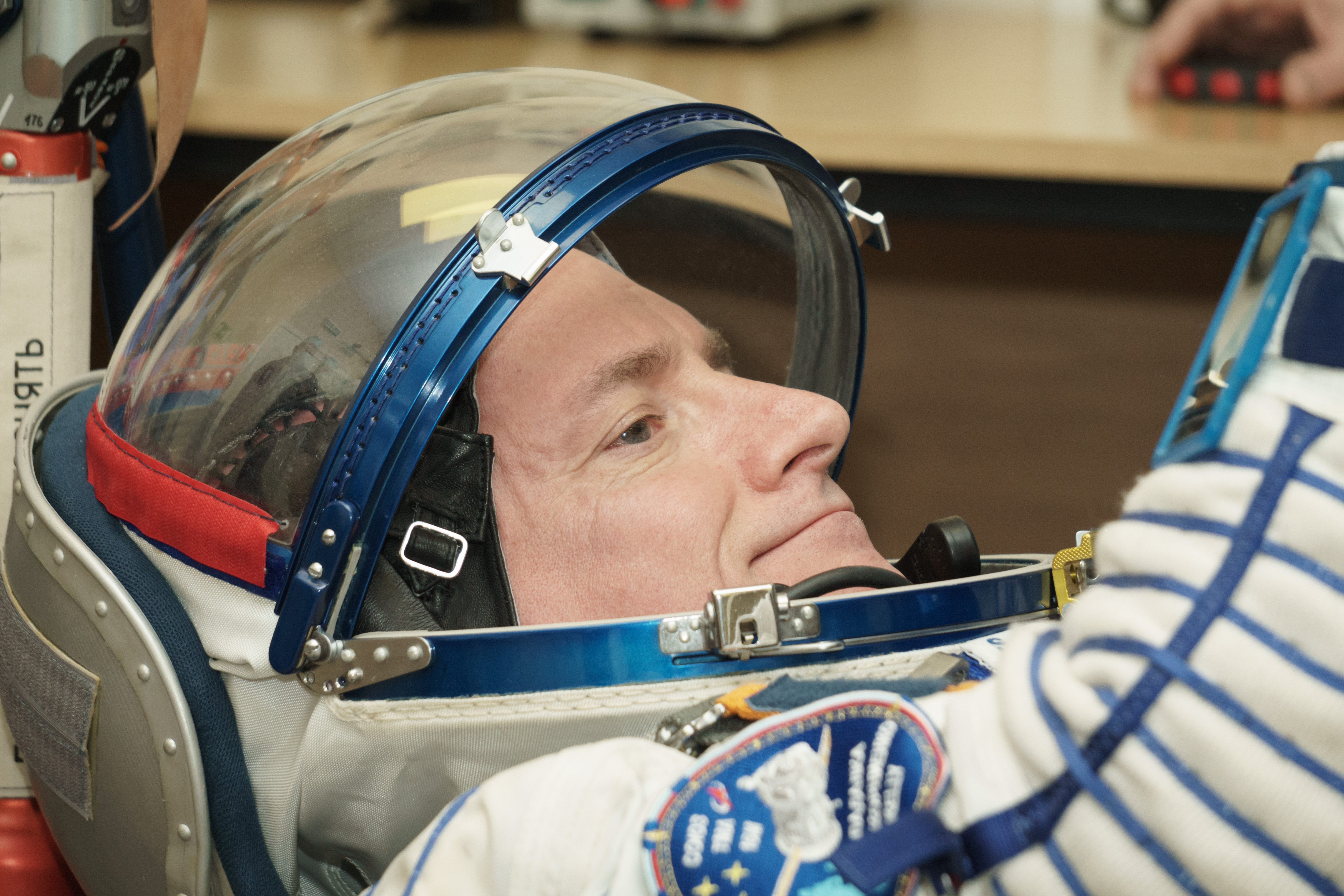 Scott Kelly in space suit close up