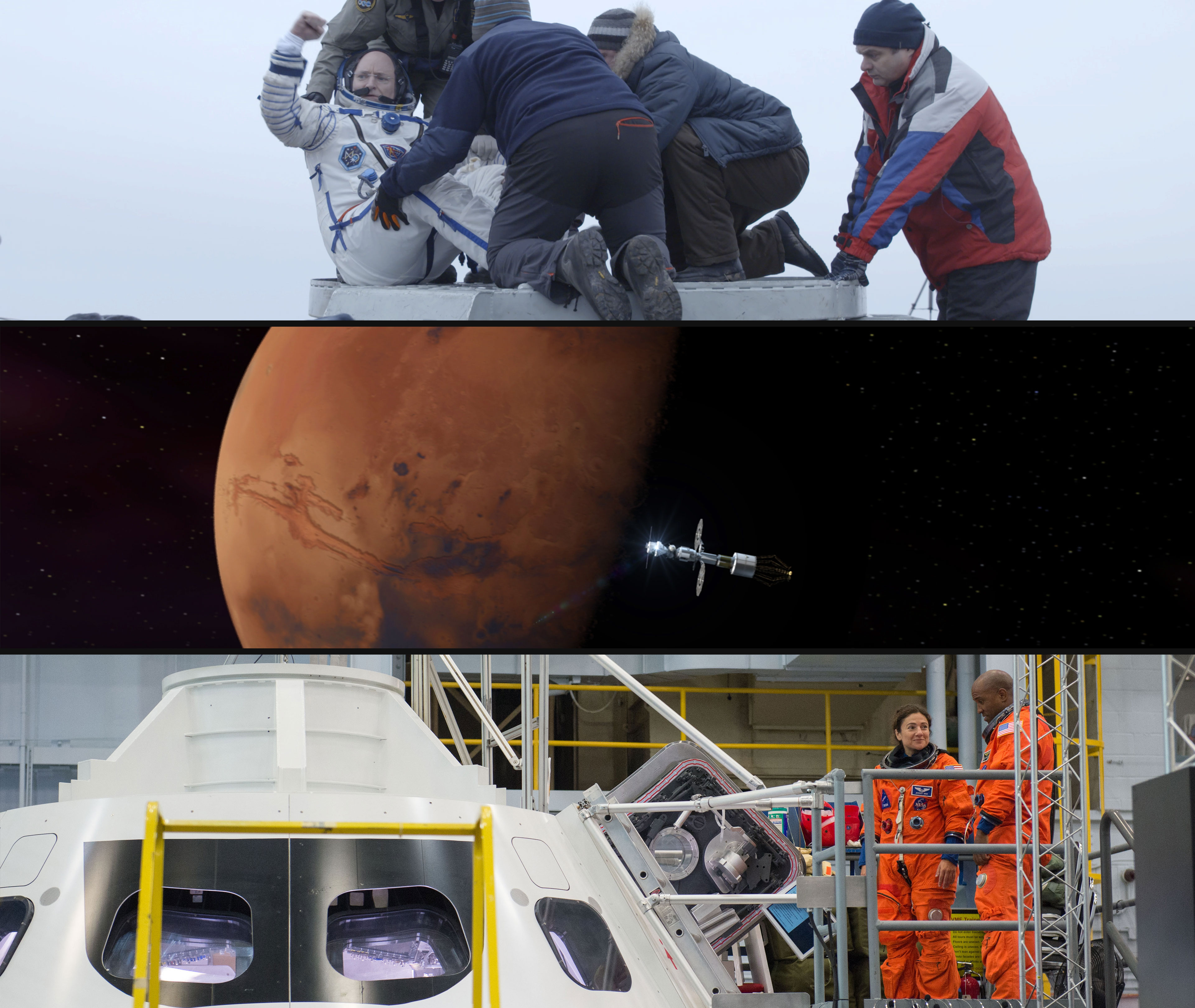 Top image: Astronaut Scott Kelly. Credit: Andrey Alistratov. Middle image: Mars. Credit: Space City Films. Bottom image: Astronauts Jessica Meir and Victor Glover. Credit: Lauren Harnett.