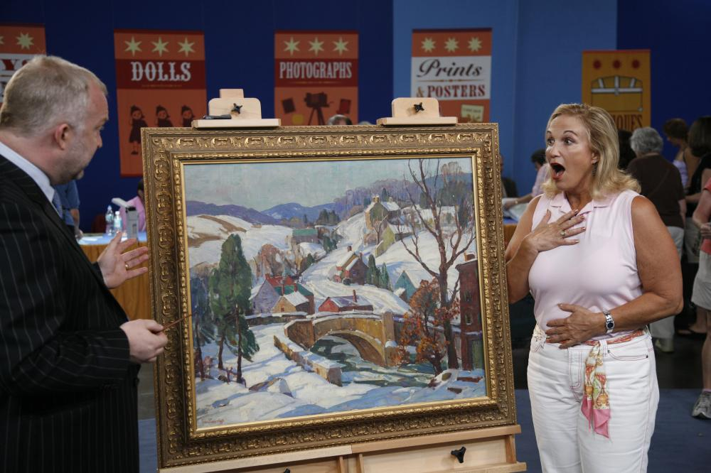 A woman gasping at a painting