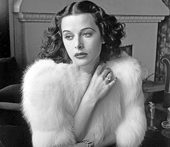 black and white photo of a young Hedy Lamarr
