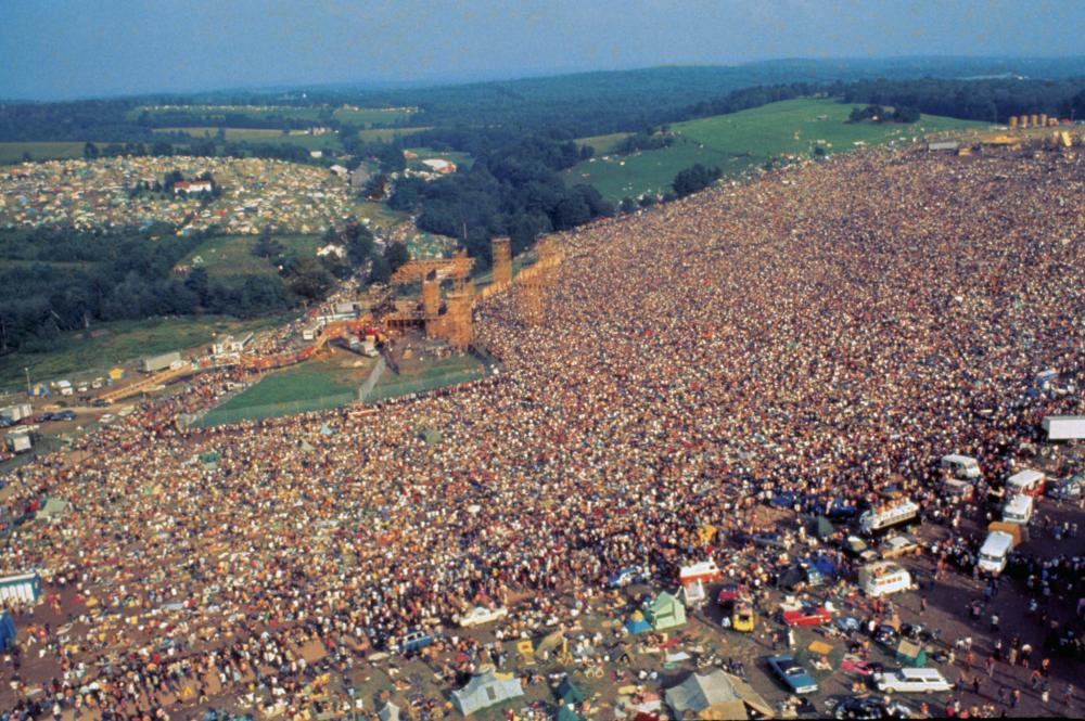 Aerial picture of the woodstock crowd