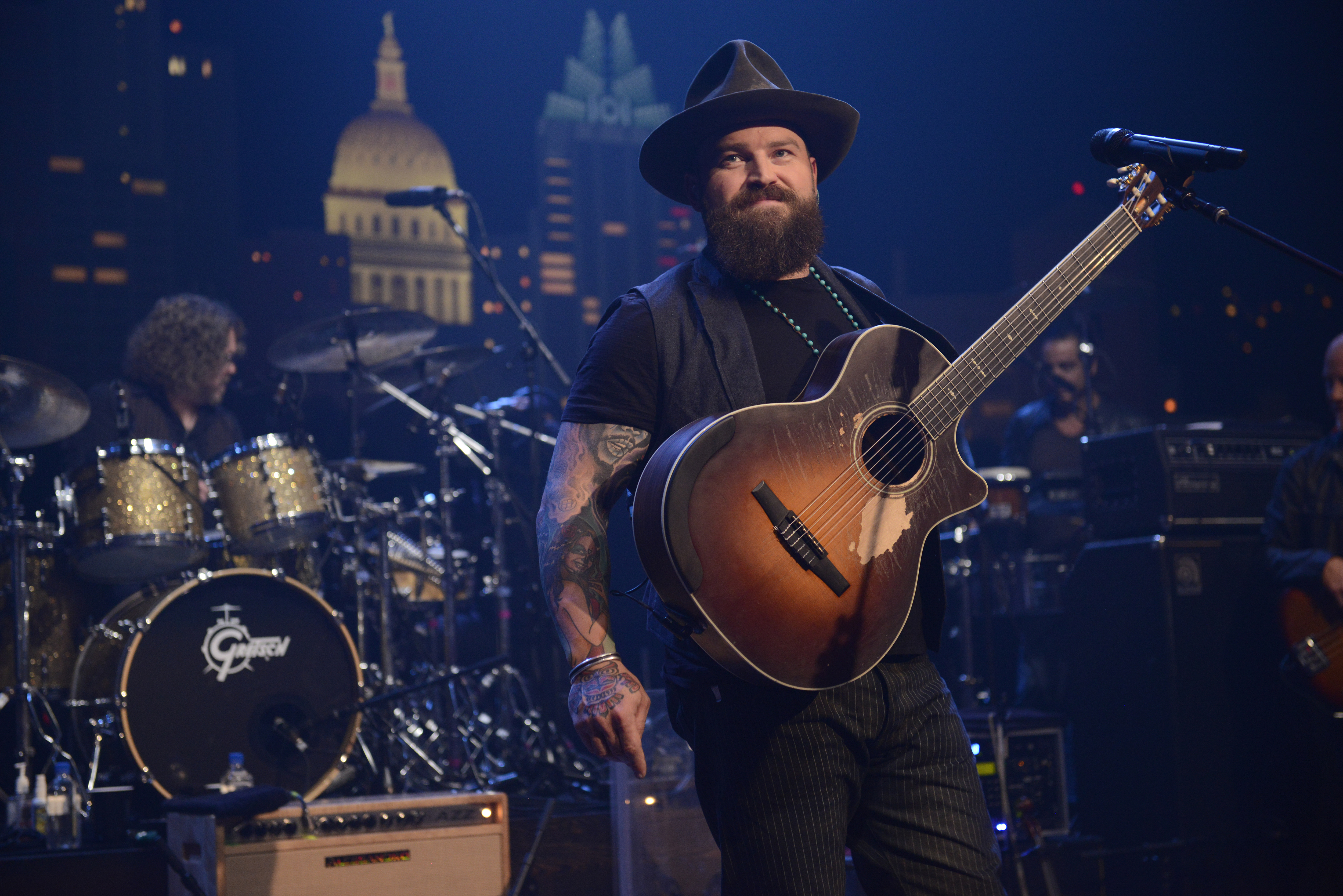 Zac Brown with guitar on ACL set