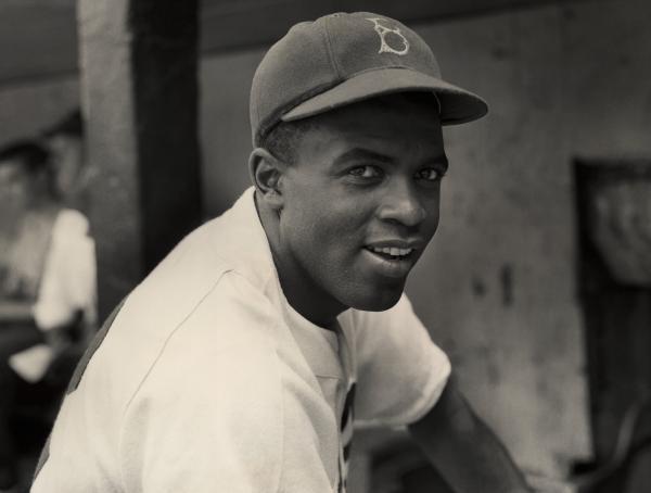 Jackie Robinson in his baseball uniform