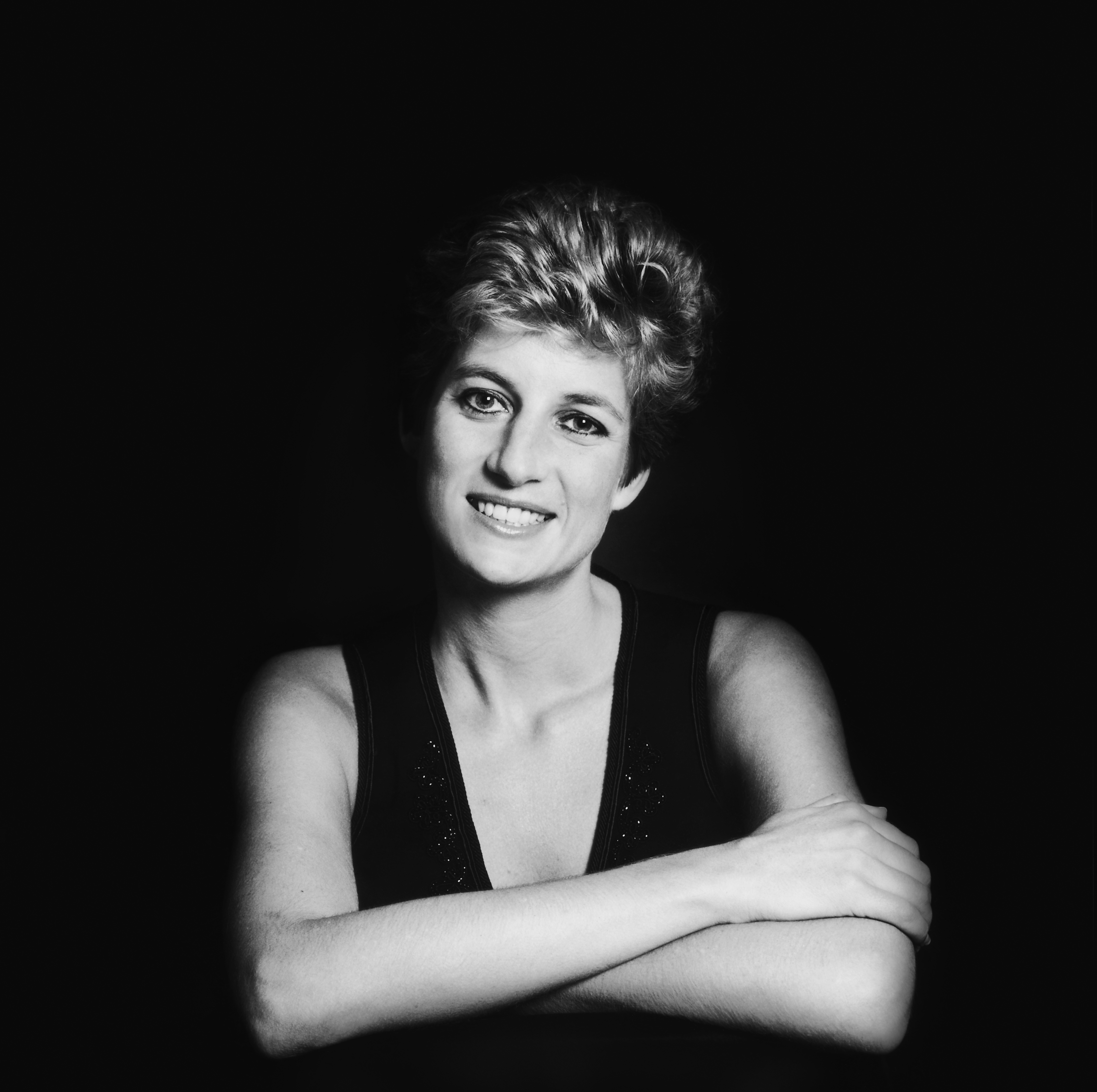 A black and white image of Princess Diana